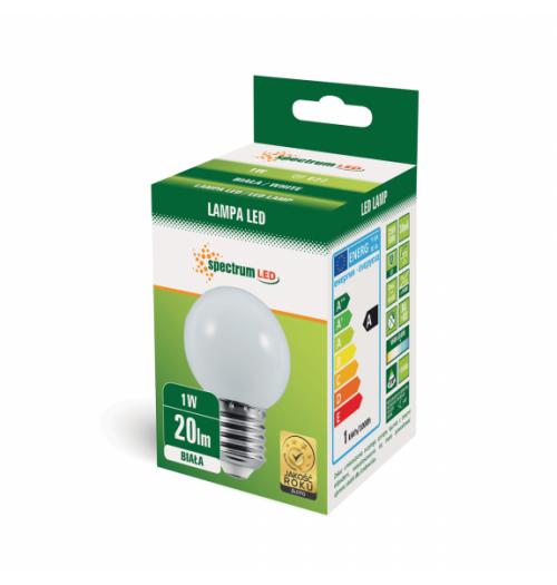 Lemputė LED E27 G45 1W šalta balta SpectrumLED