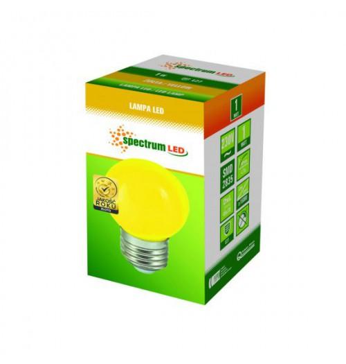 Lemputė LED E27 G45 1W geltona SpectrumLED