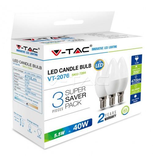 Lemputė V-TAC LED E14 C37 5.5W 6400K rinkinys 3 vnt.