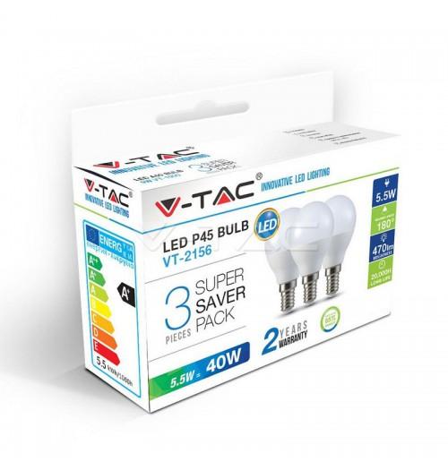 Lemputė V-TAC LED E14 P45 5.5W 2700K rinkinys 3 vnt.