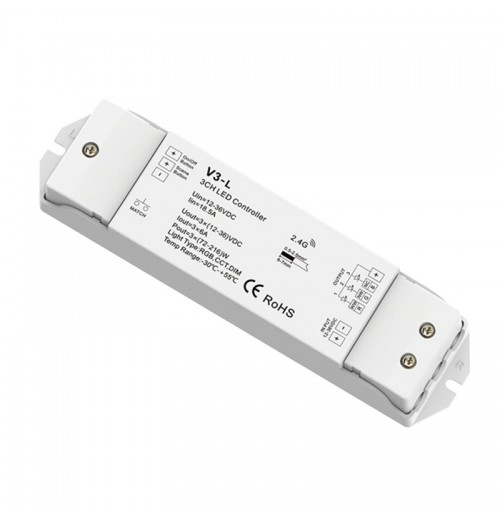 Valdiklis-imtuvas SKYDANCE V3L RGB/CCT 12-36V DC 3x6A