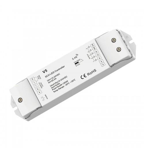 Valdiklis-imtuvas SKYDANCE V5 RGB+CCT 12-36V DC 5x4A