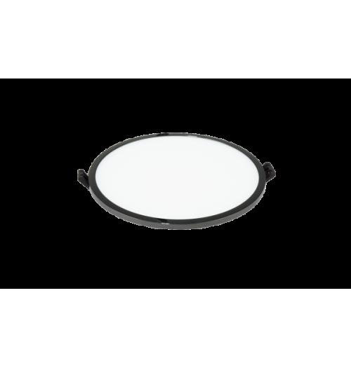 LED panelė LPSR 16W 3000K IP44 įleidžiama apvali (juodo chromo sp. rėmelis)