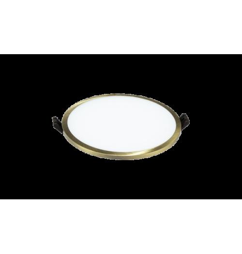 LED panelė LPSR 24W 3000K IP44 įleidžiama apvali (žalvario sp. rėmelis)