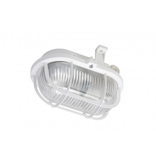 Buitinis šviestuvas LENA OVAL (baltos sp. grotelės) 1xE27 IP44