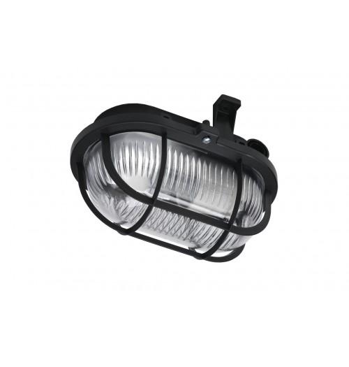 Buitinis šviestuvas LENA OVAL (juodos sp. grotelės) 1xE27 IP44