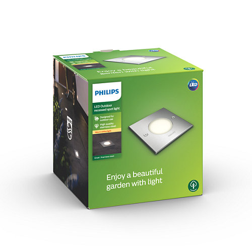 Grindinio šviestuvas Philips Crust LED 3W IP67 m. chromo sp. kvadratinis